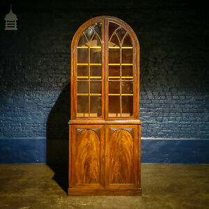 Regency Arched Top Astral Glazed Mahogany Two Part Bookcase Cabinet