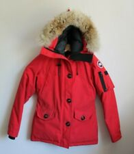 Canada Goose Red Expedition Parka Long Line Coat Fur Trim Hood Size S/P