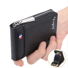 Mens RFID Blocking Leather Soft Wallet Credit Card Holder Purse With Zip
