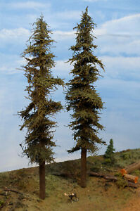 "TWO TALL Model Fir Trees, 13"", REAL WOOD CONSTRUCT, Handmade in USA, FREE SHIP"