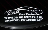 Paul Walker Tribute Sticker - In Memory Decal - Choose Color Size