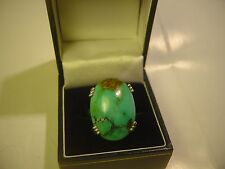 LOVLEY SOLID SILVER RING REAL LARGE  TURQUOISE SIZE P-VERY GOOD QUALITY-VINTAGE
