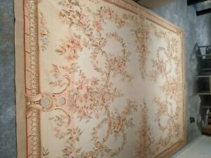 9 x 12 Hand woven French Aubusson Needle point 100% wool Area rug