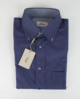 NIB BRIONI Blue Cotton Slim Fit Shirt Size Small  $595
