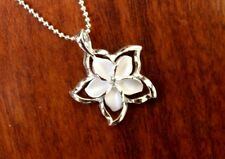 Hawaiian 925 Sterling Silver PLUMERIA CUT OUT OUTLINE Pendant Necklace #SP84201