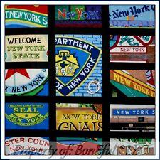 BonEful Fabric FQ Cotton Quilt Block VTG New York State NYC City B&W America USA