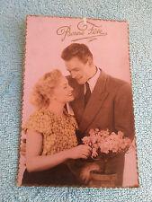 Carte Postale Couleur Couple Amoureux Jaune Bonne Fête A.Noyer Paris N°3226