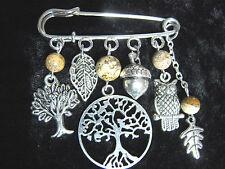 Silver-tone Tree of Life Kilt Pin Brooch Acorn Owl Oak leaf Jasper Beads Pagan