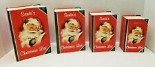 Set of 4 New Vintage Look Santa's Christmas List Stacking Nesting Gift Boxes