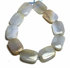 10 NATURAL Blue Lace Agate Chalcedony Flat Rectangle Beads13x18mm K2318