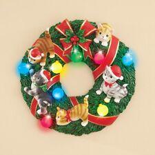 Joyful Kitten Cat Lighted Christmas Wreath Door/Wall Decoration