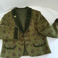 Vintage LODEN Bayerischer Jacket/Vest/Skirt Green Wool Velvet Crimson Flowers 8P