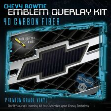 (2) Chevy Bowtie Emblem Overlay Sheets Front Back Vinyl Decal - 4D Carbon Fiber