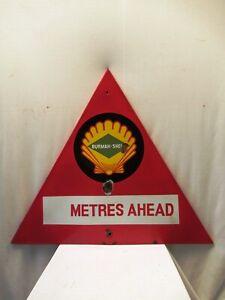 """Vintage Burmah Shell Oil Advertising Porcelain Enamel Sign Fuel Station Triangl"""""""