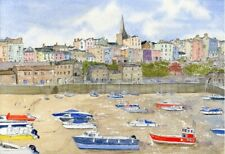 TENBY HARBOUR & CHURCH Wales A Print of Watercolour Painting by Annie Hill