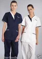 Nurses Nurse White & Navy Beautician Healthcare Tunic Uniform (TT16)  D11