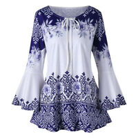 Women Floral Printed Long Bell Sleeve Lace Up Casual Shirt Blouse Tunic Tops 5XL