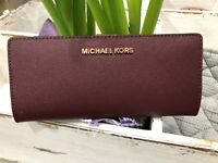 Michael Kors Jet Set Travel Flat Slim Bifold Saffiano Leather Snap Wallet $148