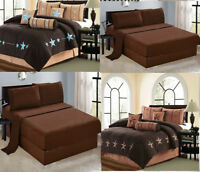 11 Piece Micro Suede Brown Comforter Sheet Set Queen Or King Size AT Linen Plus