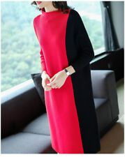 Autumn Winter Women Sweater Dress Elegant Hit Color Knitted A Line Loose Dress