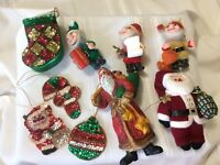 Lot of 9 Christmas Ornaments Vintage Elves,Old St. Nick,Glitter Stocking Box,