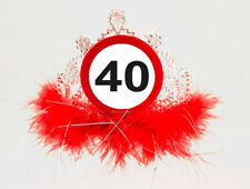 40TH BIRTHDAY FEATHERY TIARA TRAFFIC SIGN AGE PARTY