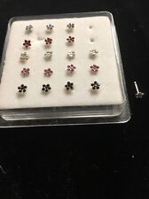 Nose Stud Stainless Flower Blue Red Yellow Pink Lab Diamond Black Hot
