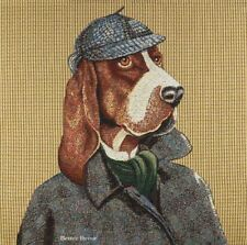 """20"""" DECORATIVE TAPESTRY PILLOW COVER Sir Basset Hound DRESSED DOG CUSHION ACCENT"""