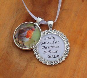Robin Glass Christmas Tree Hanging Plaque/Decoration Memorial Xmas ///