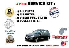 Para Kia Carens 1.6 Dt Crdi 2010-2012 Aceite Aire combustible Polen Filtros (4) Kit De Servicio