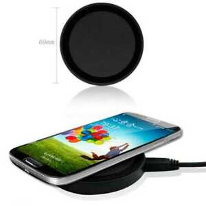 Base Qi Inalámbrica Negra Cargador Receptor para Samsung S6 S7 Edge Plus + Carga