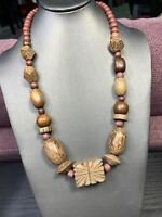 Ladies Vintage Bohemian Exotic Hand Carved Brown Wood Beaded Necklace  22""