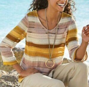 Soft Surroundings Women's Ivory Multi Marrakesh Knit Sweater & Tank 2X $108