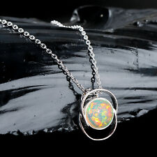 Ethiopian Opal Pendant Necklace 925 Sterling Silver Handmade Natural Cabs Women