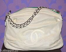 CHANEL 08 BASEBALL SPIRIT Perforated Dot Chain Zippers Bag Huge CC Logo LIMITED!