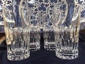 Vintage Set of 4 RARE Royal Doulton FORTUNE Cut Crystal Flat Tumblers