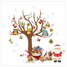 Merry Christmas Santa Claus Owls Christmas Tree Gifts Wall Decal Decoration