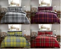 Flannelette Tartan Check Duvet Set 100% Brushed Cotton Duvet/Quilt Cover Bed Set