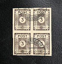 TIMBRES D'ALLEMAGNE ORIENTALE : SACHSEN / SAXE 1945 N° 10 BLOC DE 4 Oblitéré TBE