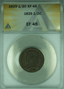 1829 US Classic Head Half Cent 1/2c ANACS XF-45