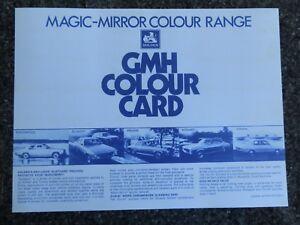 HOLDEN 1971 HQ ''COLOUR CHART''  BROCHURE
