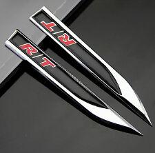 2pcs Car Metal Knife Badge Emblem Decal Sticker fit for R/T Dodge Chrysler JEEP