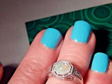 .56 Ct. Round Opal Filigree Sterling Silver Ring October's Birthstone