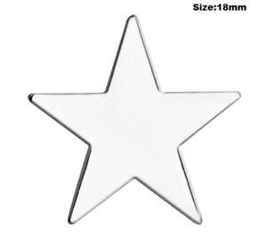Silver Star Badge Pin Chrome Enamel Pentagram Army Military Award Prize Winner