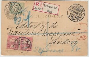 HUNGARY 1902 postal card UP-RATED to registered *BUDAPEST-LONDON*