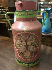 French Vintage Milk Churn Hand Painted and Signed by French Artist