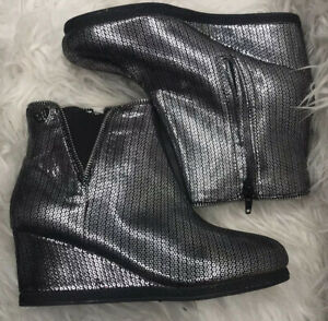 Stuart Weitzman Silver Metallic Ankle Wedge Boots Lined Size 5