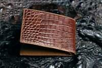 Handmade Genuine Alligator Crocodile Leather Skin Men Bifold Wallet Brown