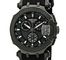 TISSOT T-RACE CHRONO BLACK PVD CASE RUBBER T115.417.37.061.03 (WARRANTY INCL)