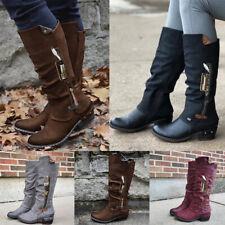 Womens Casual Zip Up Mid Calf Boots Ladies Flat Low Heels Winter Warm Calf Shoes